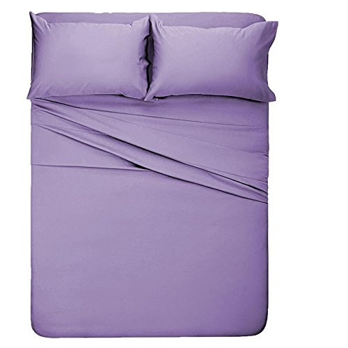 Exotic Bedware Specially Designed 1800 Series Brushed Microfiber Bed Sheet Set 15 Inch Deep Pocket Twin Size - Solid Lavender
