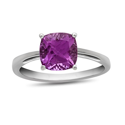 Created Pink Sapphire Ring - Finejewelers 10k White Gold 7mm Cushion Created Pink Sapphire Ring Size 7