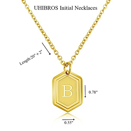 UHIBROSNecklaces for Women, 14K Gold Plated Hexagon Initial Necklaces, Dainty Personalized Alphabet Letter Choker with Adjustable Chain Pendant, Jewelry Gift for Women, Girls or Men-B