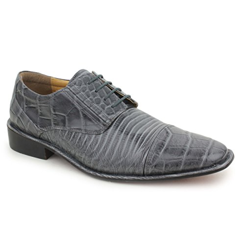 Liberty Exotic Men's Crocodile/Lizard Print Oxford Hand-Picked PU Leather Stitched Lace up Dress Shoes Exclusive Collection (Collection Oxford Grey)
