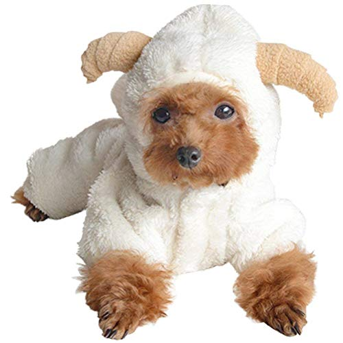 AOFITEE Cute Cartoon Sheep Rabbit Shape Halloween Cosplay Costume Winter Warm Fleece Small Pet Hoodies Coats, Dog/Cat Cold Weather Soft Comfy Jumpsuit Pajamas (White-XS)