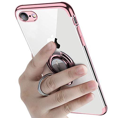 横向きスペイン語息切れiPhone6s ケース iPhone6 ケースリング付き 透明 TPU マグネット式 車載ホルダー対応 全面保護 耐衝撃 軽量 薄型 携帯カバー スクラッチ防止 滑り防止 アイフォン6s/6 ケース 4.7インチ専用 一体型(iPhone6s/6 ケース, ローズゴールド)