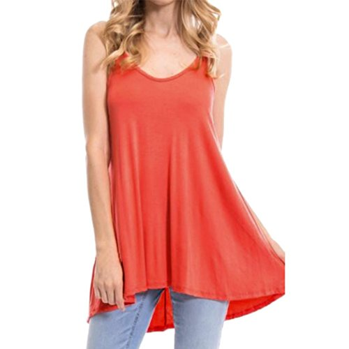(TOPUNDER Women Ladies Summer Blackless Tank Top Loose Sleeveless V Neck Tunic)