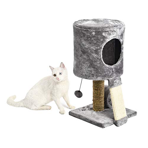 PAWZ Road Small Cat Tower House Kitty Tree with Condo, Scratching Post and Tube Toy Gray