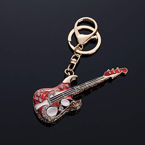 Rhinestone Guitars - Goodscene Gift Keyring for Couple Rhinestone Guitar Pendant Metal Keyring Purse Hand Bag Car Charm Keychain Gift (Red)