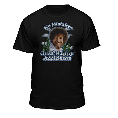 Bob Ross No Mistakes/Positive Vibes T-Shirt (Medium, Black)