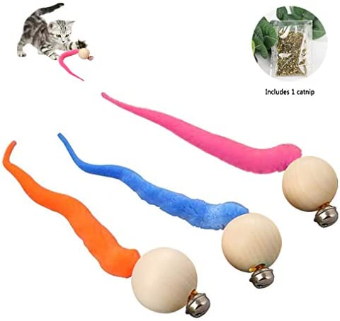 Fun Meows Interactive Cat Worms Ball with Bell,The Best Brightly Colored Cat Toys with Bells,Health Sport for Your Cat.Safe for Your Kitty,Pack of 3 and 1 Catnip 2