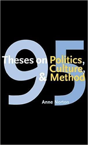 theses on politics culture and method anne norton  95 theses on politics culture and method first edition edition