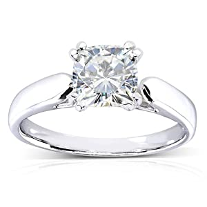 Cushion cut Moissanite Solitaire Engagement Ring 1 1/10 Carat 14k White Gold