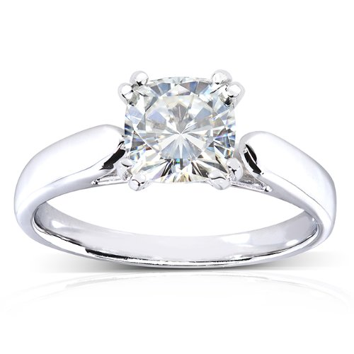 Cushion-cut Moissanite Solitaire Ring 1 1/10 Carat in 14k White (Solid Gold Moissanite Ring)