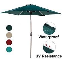 Abba Patio Outdoor Patio Umbrella 9-Feet Aluminum Market Table Umbrella with Push Button Tilt and Crank, Dark Green