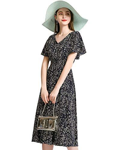 Gardenwed Floral Print Chiffon Summer Dresses for Women Flowy Midi Casual Sundress Bohemian Beach Party Dress Navy Small Flower L