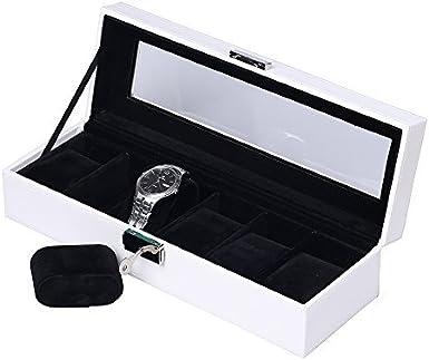 JKC Caja de Reloj de Madera - Caja para Reloj con Vidrio para Mujeres y Hombres - De Cuero Artificial para 6/10/12 Relojes con Llave