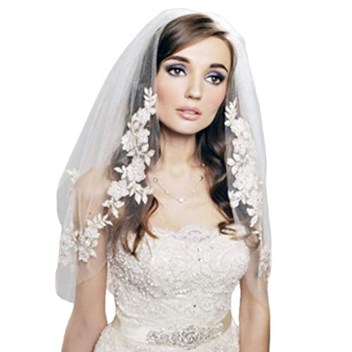ballboU-2 Tier Double Layer Women Elbow Length Wedding Veil Silver Faux Pearl Embroidered Floral Lace Trim Bridal Veil with Comb