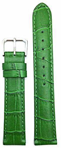 18mm Green Genuine Leather Watch Band | Square Crocodile Grained, Lightly Padded Replacement Wrist Strap that brings New Life to Any Watch (Mens Standard Length)