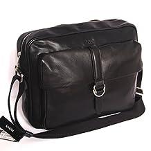 Hugo Boss Black Leather Messenger Crossbody Bag Black Label New with Tags
