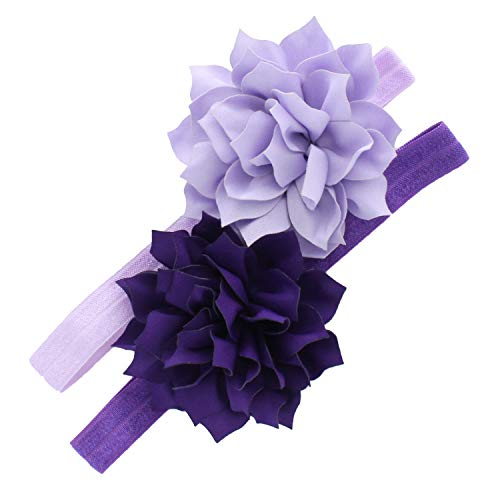- My Lello Baby Petal Flower Headbands Mixed Colors 2-Pack (Light Lavender/Purple)