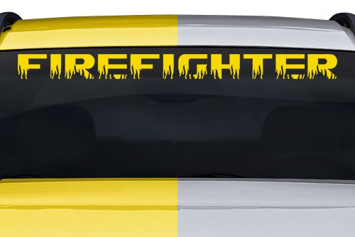 (Sticky Creations - Firefighter Flame Font Flaming Fire Letters Lettering or Custom Text Windshield Decal Sticker Vinyl Graphic Back Rear Window Banner Car Truck Boat | 36