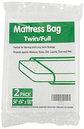 TopGreen 2 Pack Mattress Plastic Bag for Storage Mattress Disposal Bag Twin/Full Size 54