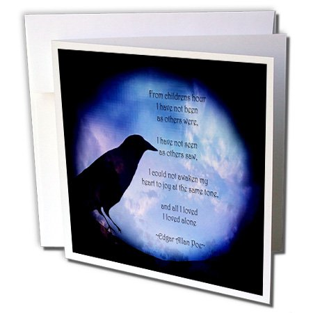 3dRose WhiteOaks Photography and Artwork - Halloween - Poe I loved Alone is a design I created representing one of his quotes - 6 Greeting Cards with envelopes (gc_245652_1) ()
