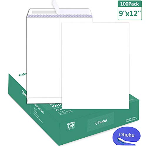 100 9 x 12 Self Seal Security White Catalog Envelopes Ohuhu, for Business Documents, Secure Mailing, Photos, Ultra Strong Quick-Seal, 100 Envelope with Letter Opener, 28 lb