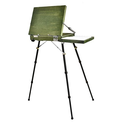 (Portable Art Easel for Watercolor painting, QINUKER French Style Adjustable Wooden Artist Easel & Sketchbox , Wooden Pallete and Shoulder Strap)
