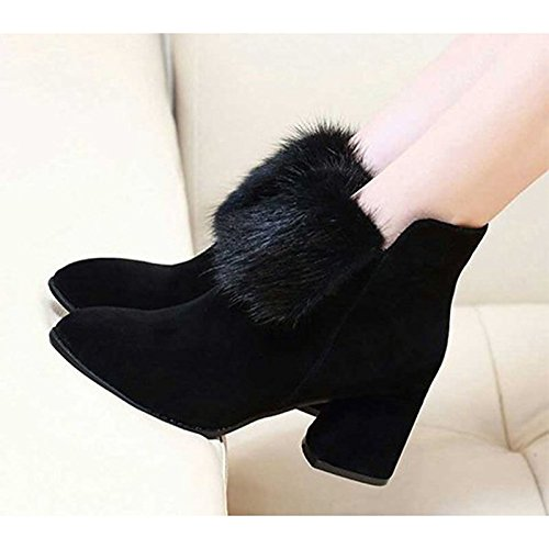 Combat Heel Pointed Chunky Winter Toe Black Shoes Mid Black Boots HSXZ for Calf ZHZNVX Women's Boots Casual Boots Cashmere AHW8XFxvzn