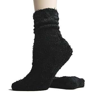 Foot Traffic - Microfiber Socks, Soft, Warm & Fuzzy, Black (Women's Shoe Sizes 4–13)