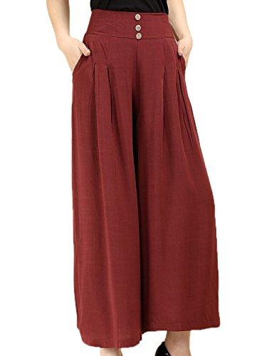 Donna Pantalone Da Rosso Vino Cotone Pantaloni Gamba Lino In Larga Alta Huateng Vita Casual A BqwSSCz