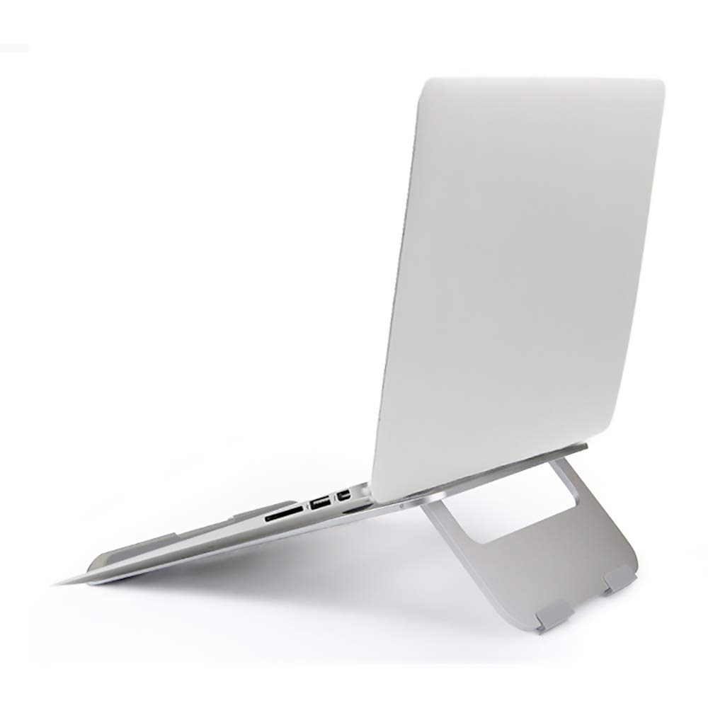 Aluminum Laptop Stand ixaer Portable Adjustable Notebook Stand with Folding Holder for Android or Apple Devices 5.25 to 18.37 Inches 360 Degree Rotating Flexible Arm (Silver)