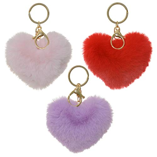 3 Pack Cute Novelty Heart Keychains Faux Fur Ball Pom Pom Key Chain Ring for Women Girls Bag Pendant (Red Purple Pink Heart)
