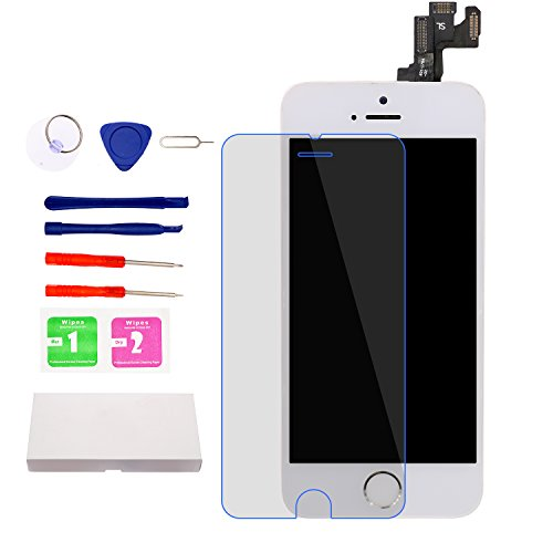 for iPhone 5S 4.0'' Screen Replacement (White)with Home Button and Camera, Nroech 5S LCD Display Touch Screen Digitizer Replacement Full Assembly with Repair Tool Kit w/ Screen Protector