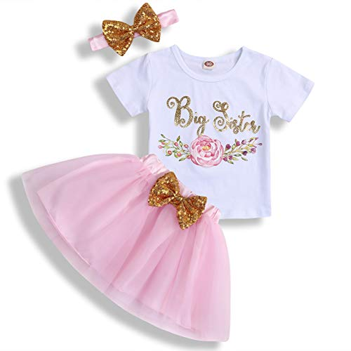 Toddler Baby Kid Girls Big Sister Outfits Short Sleeve T-Shirt Top+Tutu Skirt with Headband Clothing Set (Pink, 18-24 - Little T-shirt Baby Sister