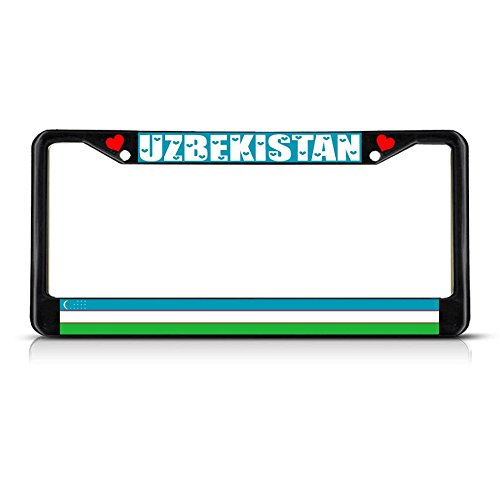 Uzbekistan Country Flag METAL Black License Plate Frame Tag Holder