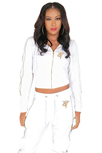 Poetic Justice Women's Curvy Fit White French Terry Gold Zip Cut-Out Wrap Tie Hoodie Size - White Cut Gold Out