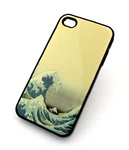 BLACK For Apple Iphone 4/4S Case Cover Plastic Cover - GREAT WAVE OFF KANAGAWA tsunami Japan surfer ocean sea boat rip tide vintage
