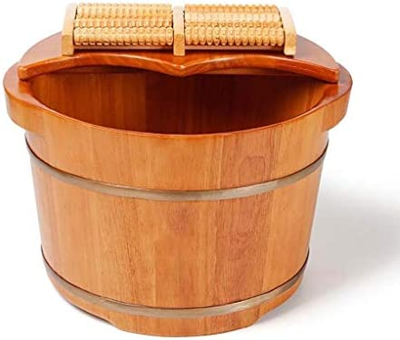 サウナバケツ,使用簡単 おしゃれ 木製足浴桶,滑らかい 繊細 手作り足浴桶 湯桶 手桶,防水 防漏フットバス木製バケツ フットバス 足浴桶 足の浴槽