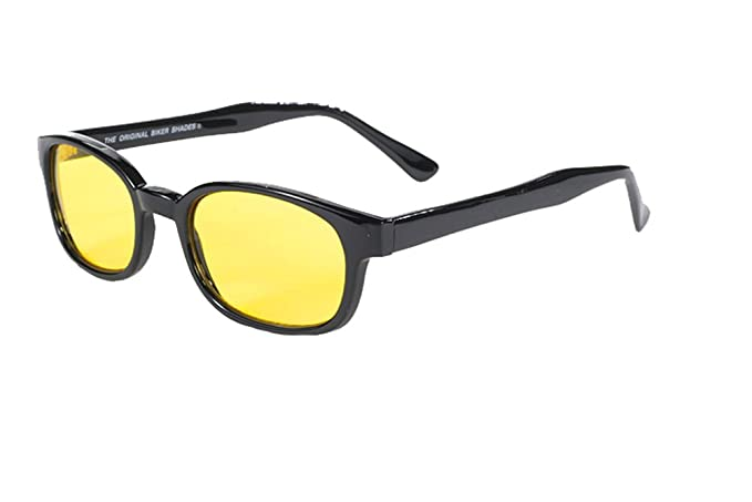 4151cace01f Image Unavailable. Image not available for. Color  Original X-KD s Biker  Yellow Lenses Black Frames 20% Sunglasses