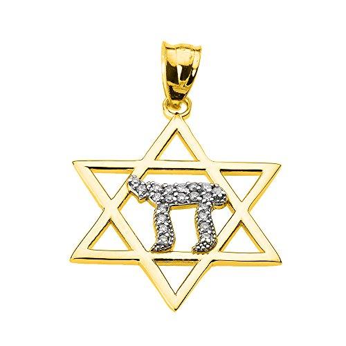 Solid 14k Yellow Gold Star of David with Chai Diamond Pendant