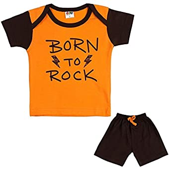 2c3bc671b347 LK Vyapaar Pvt Ltd 6-12 Months Kidswear T-Shirt and Pant 2 Piece Set for boy  or Girl 100% Cotton -Orange  Amazon.in  Clothing   Accessories
