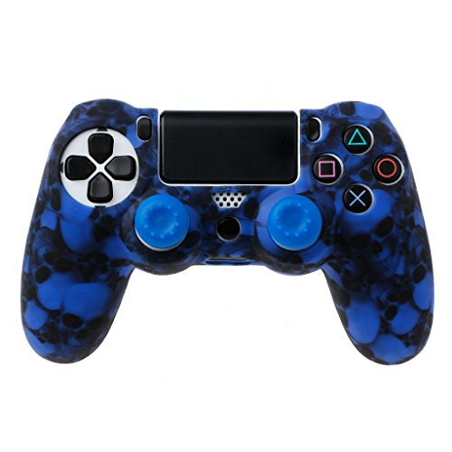 Price comparison product image Forgun Skull Silicone Gamepad Cover Case + 2 Joystick Caps PS4 Pro Slim Controller (Blue)