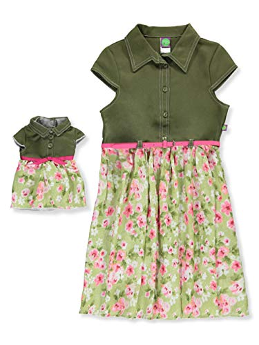 Dollie & Me Little Girls Belted Dress with Doll Outfit - Green/Multi, 6X ()