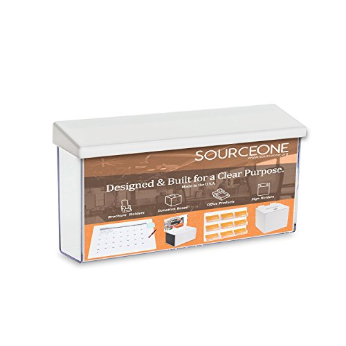 Source One Outdoor Brochure Holder 4 x 9 x 2 Inches Acrylic Wall Mounting Literature Dispenser (1 Pack, Landscape White)