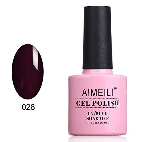 AIMEILI Soak Off UV LED Gel Nail Polish - Burgundy Brown Plum (028) 10ml