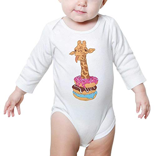 LUnBa Cute Cartoon Giraffe Donuts Romper White Long Sleeve Natural Organic Cotton