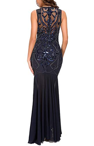 VVMCURVE Women 's 1920s Black Sequin Gatsby Maxi Long Evening Prom Dress (Large, Navy Blue -2) ()