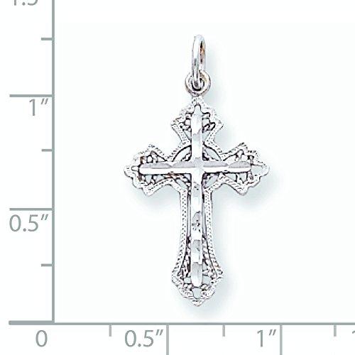 10 k or blanc diamant-découpe Breloque croix or de haute qualité Or 9 Carats JewelryWeb