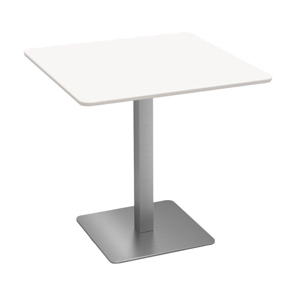 カフェテーブル 750□天板 ステンレス □脚 重厚感 ホワイト木目 B078732X22 幅750mm|ホワイト ホワイト 幅750mm