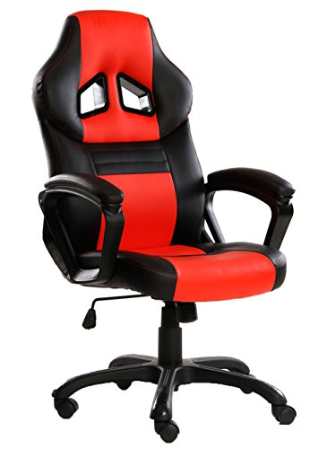 SEATZONE Swivel Office Chair, Racing Car Style Bucket Seat Gaming Chair, Curved High-back Leather Computer Desk Chair for Home, Office and E-sports Use, Red
