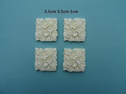 Decorative flowers x 4 applique onlay furniture moulding M12 ()